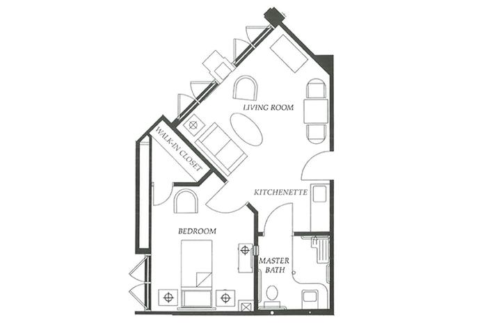 Floor Plan 1 bed 1 bath Option 2
