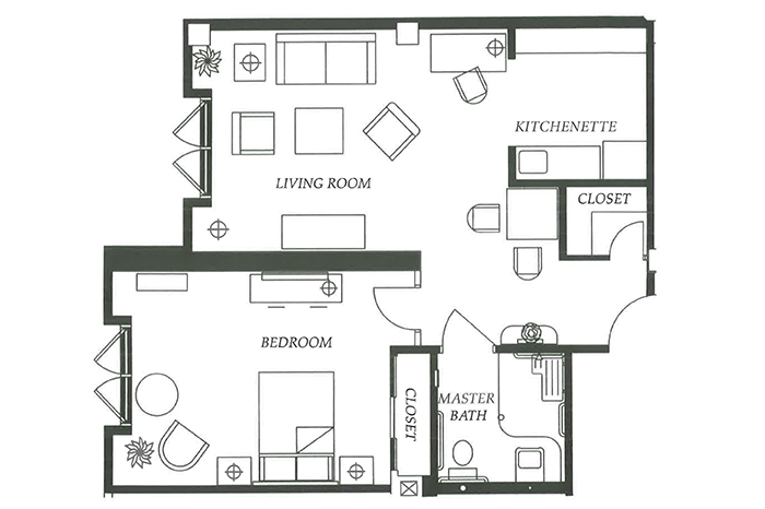 Floor Plan 1 bed 1 bath Option 3