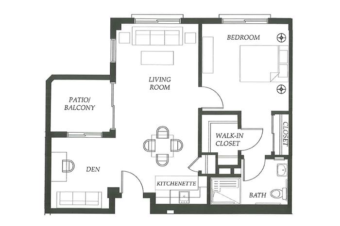 Floor Plan 1 bed 1 bath with Den