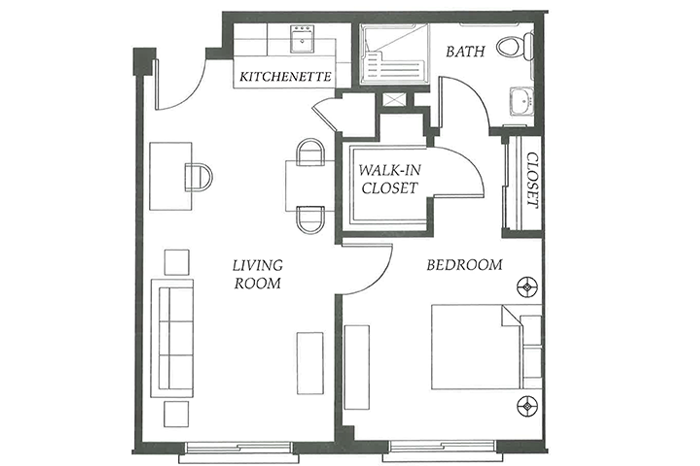 Floor Plan 1 bed 1 bath Option 1
