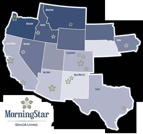 Map of MorningStar Senior Living Community Locations